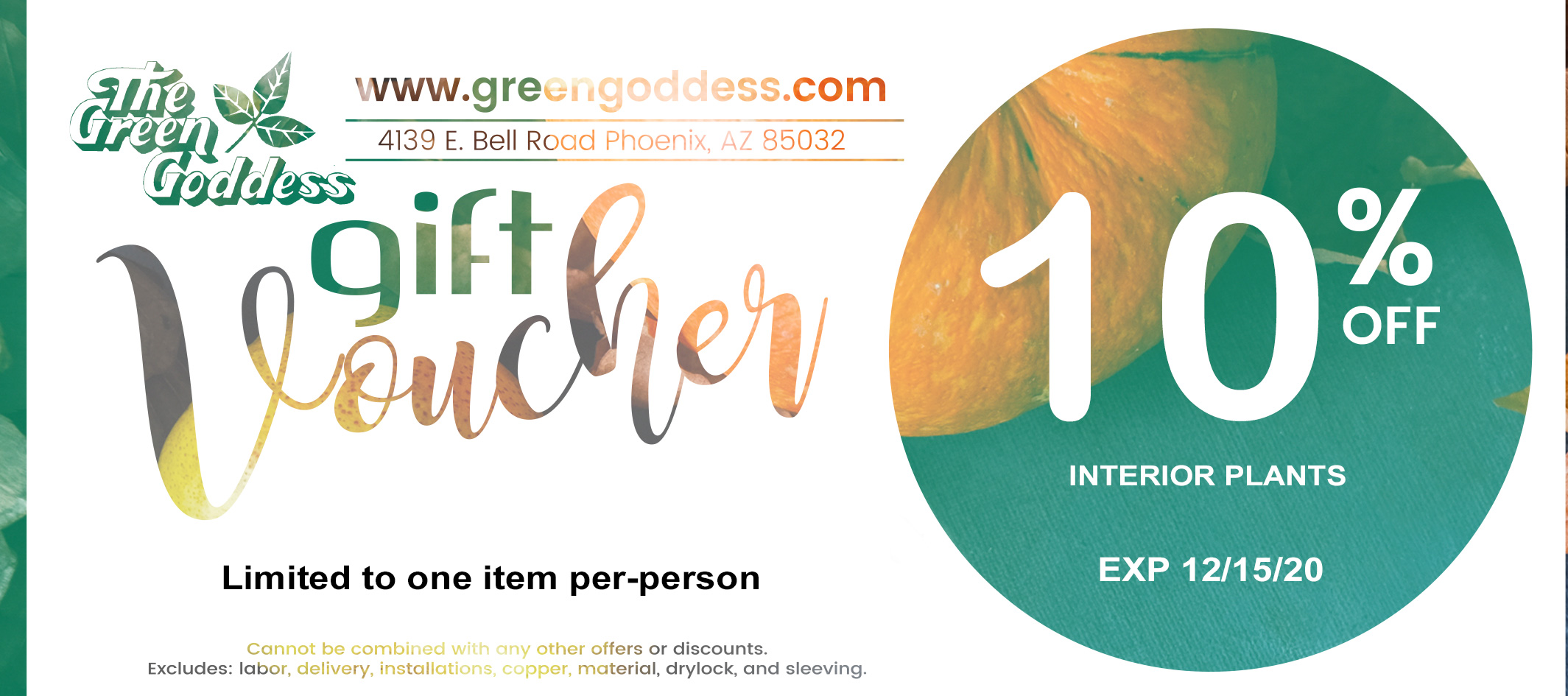 The Green Goddess November Coupon